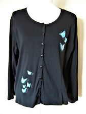Black Sweater with Blue Butterflies