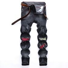 2020 Men's Denim Pants Destroyed Ripped Patch Jeans Frayed Pants Hip Hop Jeans