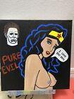 12x12 Black Light Wonder Woman DC Halloween Michael Myers Acrylic Pop Art