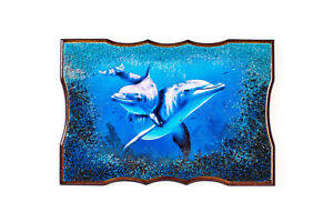 """Stone crumb pasted on a photo - """"Dolphins"""" , art photo painting"""