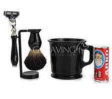 Vintage Shaving Set/Kit, Badger Hair Shaving Brush Mach 3 Razor/Shaver n Stand