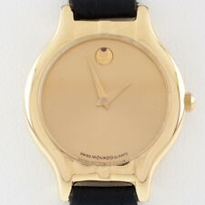 18k Yellow Gold Movado Watch w/ Black Leather Band Nice!
