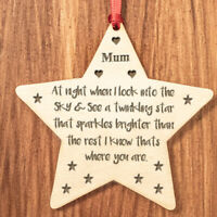 Personalised Christmas Star Tree Bauble Decoration Xmas Memorial Family Gifts Z1