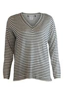 Womens Blue Navy Ivory Striped V Neck Fine Knit Jumper Smart Casual Classic