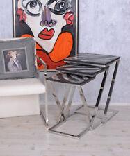 Tavolino Set Tavolo Triplo Art Deco Salotto Acciaio Inox 3 Pezzi