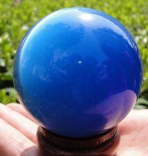 100MM+ Stand Asian Quartz Blue Cat Eye Crystal Ball Healing Spher ~