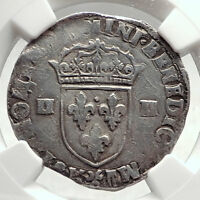 1605 FRANCE King HENRY IV Genuine Antique Silver 1/4 Ecu FRENCH Coin NGC i73477
