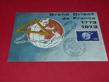CPA PHILATELIE BICENTENAIRE GRAND ORIENT DE FRANCE TIMBRE 0,90F 1973 1ER JOUR