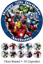 19cm Round + 10 x 3.5cm Cupcakes Superheros The Avengers WAFER Party CakeTopper