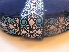 Woven Jacquard Scroll Ribbon Belts Navy, Light Blue and White 1.5 in  3 Yards