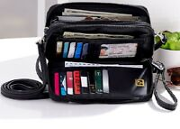 Stone Mountain Leather Crossbody / Wallet Detachable Wristlet/ Strap ROOMY Black