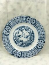 VINTAGE/ANTIQUE FLOW BLUE MONGOLIA JOHNSON BROS. ENGLAND PLATE WITH BIRDS