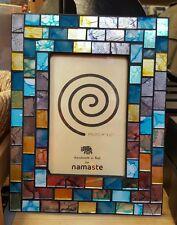 "Fair Trade Glass Photo Frame with Multi Coloured  Mosaic Tiles - 4"" x 6"""