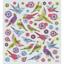 Scrapbooking Crafts Stickers Sticker King Birds Flowers Glitter Parrot Purple