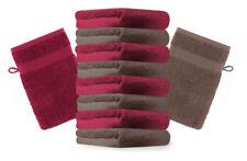 Betz lot de 10 gants de toilette Premium: marron noisette & rouge foncé 16x21 cm