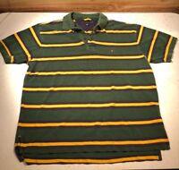 TOMMY HILFIGER Mens Size LARGE Short Sleeve Green Polo Shirt Vintage Striped