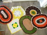 """Lot Of 6 Vintage Handmade Crocheted Yarn Doilies Hot Pads 23"""" Square Granny"""