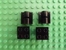 4 x LEGO TECHNIC PIASTRA NERA modificato 2 x 2 PIN CON PIN FORI RICAMBIO 2817 T006