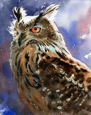 Giclee Print Owl Bird of Prey Hunting Forest Watercolor Painting Art Fantasy