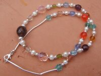 Handmade Necklace of Multi Color Czech Glass Beads and White Freshwater Pearls