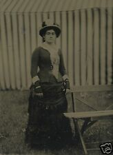 Antique Circus ? Tent Stripes Victorian Lovely Lady Abstract Old Tintype Photo
