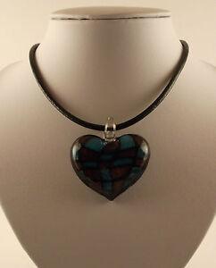 "Various Silver Foil Glass Heart Pendants & 18"" Black Leather Cords"