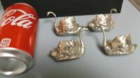SET OF 4 MINIATURE VINTAGE PEWTER FIGURINES - SWANS - PRE-OWNED - FREE SHIPPING