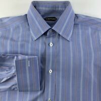 Tom Ford Mens Button Front Dress Shirt Blue White Stripe French Cuff 15 1/2 39
