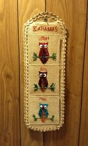 """Vintage Owl Letter Mail Bill Organizer Bahamas Straw Wall Hanging 18.5""""x6.5"""""""