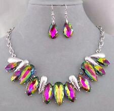 Silver with Aurora Green Rhinestone Necklace Set Fashion Jewelry NEW