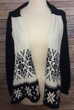 Womens Daytrip Black And White Open Front Cardigan Medium