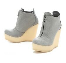 PEDRO GARCIA SHOES FEDORA CREPE WEDGE BOOTIES GRAY LEATHER PLATFORM 39 $495 8.5