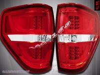 2009-2014 Ford F150 F-150 Pickup Truck LED w/ Neon Tube Red Clear Tail Lights V2