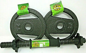"""GOLD'S GYM 2.5 lb Ketteplate (2) & 14"""" long Dumbell Barbell Pancake Weights NEW"""