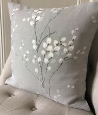 "14"" Cushion Cover in Laura Ashley Pussy Willow Steel/Austen Steel Grey"