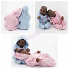 "10"" African American Twins Reborn Dolls Baby Newborn Baby Full Silicone Vinyl"