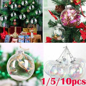 10PCS Clear Plastic Balls Christmas Baubles Sphere Fillable Xmas Tree Ornament