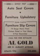 1964 Auto Seat Covers & Furniture Upholstery Al Gold Atlantic City Advertisement