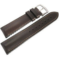 18mm Hirsch Performance James SHORT Smooth Brown Leather Rubber Watch Band Strap
