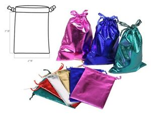 "12pc Jewelry Gift Pouches Jewelry Drawstring Pouches Metallic Gift Bags 4"" x 5"""