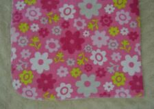 Swiggles Floral Flower Baby Blanket Pink White Green Gray Flannel Receiving