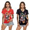 Women's Fashion Top Casual Christmas Pattern Printing Short Sleeves Shirt Blouse