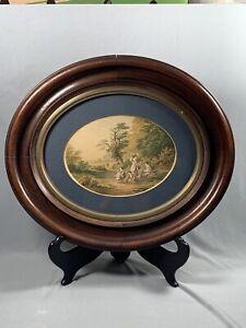 Antique Oval Framed Print Le Blond & Co London Family Country Landscape Scene