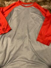 Mens Small Red Gray 3/4 Sleeve Shirt Atheltic Sports