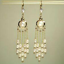 Drop/Dangle 14k solid y/gold natural white Pearl earrings leverback 4.3 gram