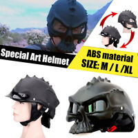 Dual Use Skull Motorcycle Helmet Novelty Casque Matte Black Half Face L Size