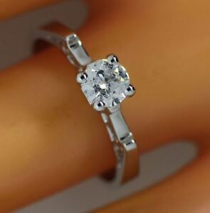 0.42 ct solitaire real diamond wedding engagement ring 18k white gold ring