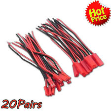 20Pairs JST Connector Plug Cable Line 10cm Male+Female for RC BEC Lipo Battery I