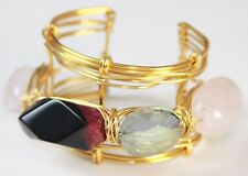 Otrera Women's Eccentric Jumbo Multi-stone Wire Wrap Cuff Bracelet, Gold-tone