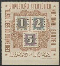 Brazil 1943 Block sheet Centenario do selo postal MNH